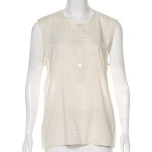 Jenni Kayne Top cream Gray grid sleeveless tank